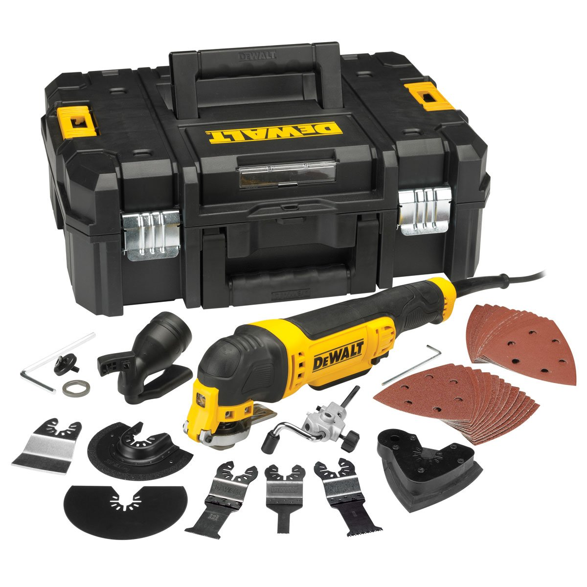300 W Large 110 V Dewalt DWE315KT-LX Oscillating Multi Quick Change Tool Release in TStak Case with 37 Accessories 110V Yellow