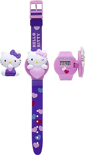 Hello Kitty 26315 - Reloj digital de cuarzo para niña, correa de plástico color morado: Amazon.es: Relojes