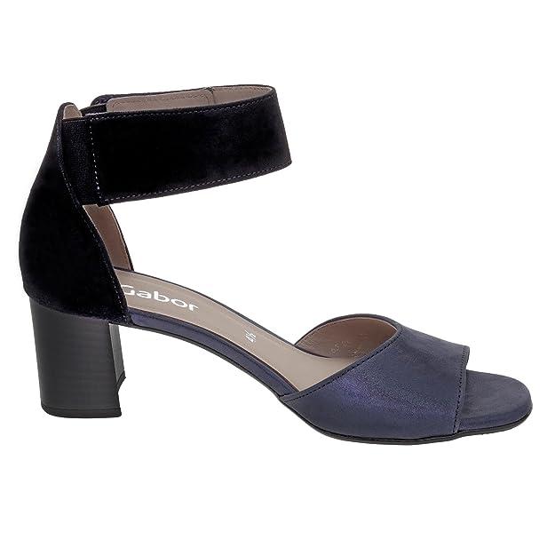 Gabor 65.800-66 Damen Sandalette Veloursleder Klettriemchen mit Gummizug Absatz, Groesse 4, blau