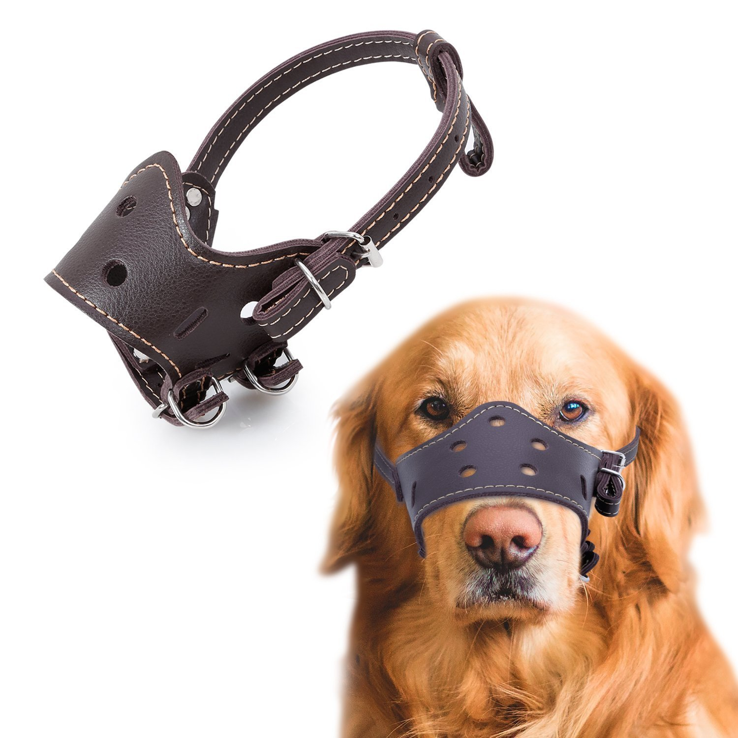 Adjustable Leather Dog Muzzle Breathable Safety Pet Puppy Muzzles Mask for Biting and Barking, Brown M