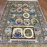 YLU 5 by 7.2 Feet Oriental Silk Rugs Traditional Figures Traditional Persian Area Rugs