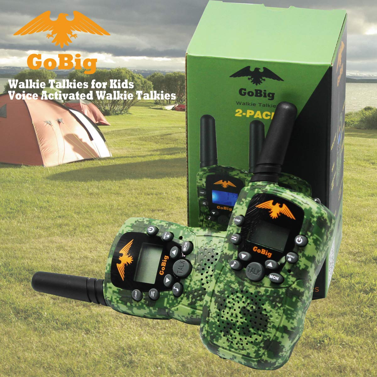 GoBig Walkie Talkies for Kids Voice Activated Walkie Talkies for Adults and Kids 3 Mile Range 2 Way Radio Walkie Talkies Built in Flash Light Camo Green (2 Pack) by GoBig (Image #7)