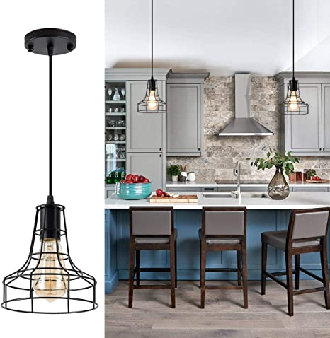 Rustic Cage Pendant Lights Industria Black Light Fixture For Kitchen Island Vintage Rustic Hanging Ceiling Lighting For Farmhouse Dining Room Restaurant Cafe Hallway Bar Barn 1 Pack Amazon Com