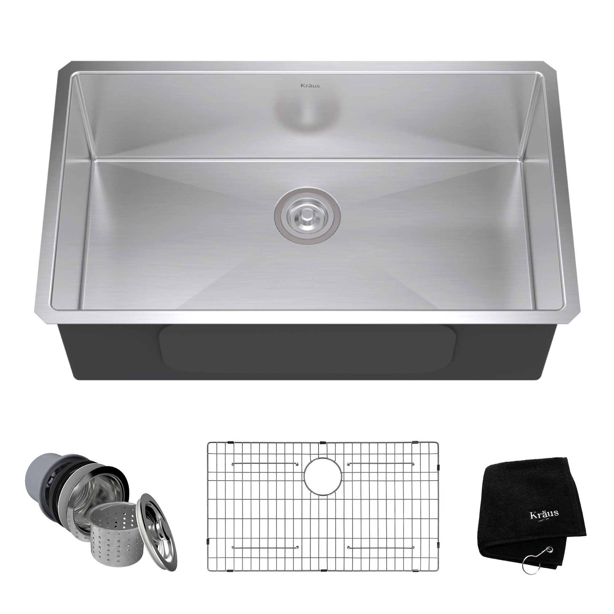 Kraus KHU100-32 32-inch 16 Gauge Undermount Single Bowl Stainless Steel Kitchen Sink by Kraus