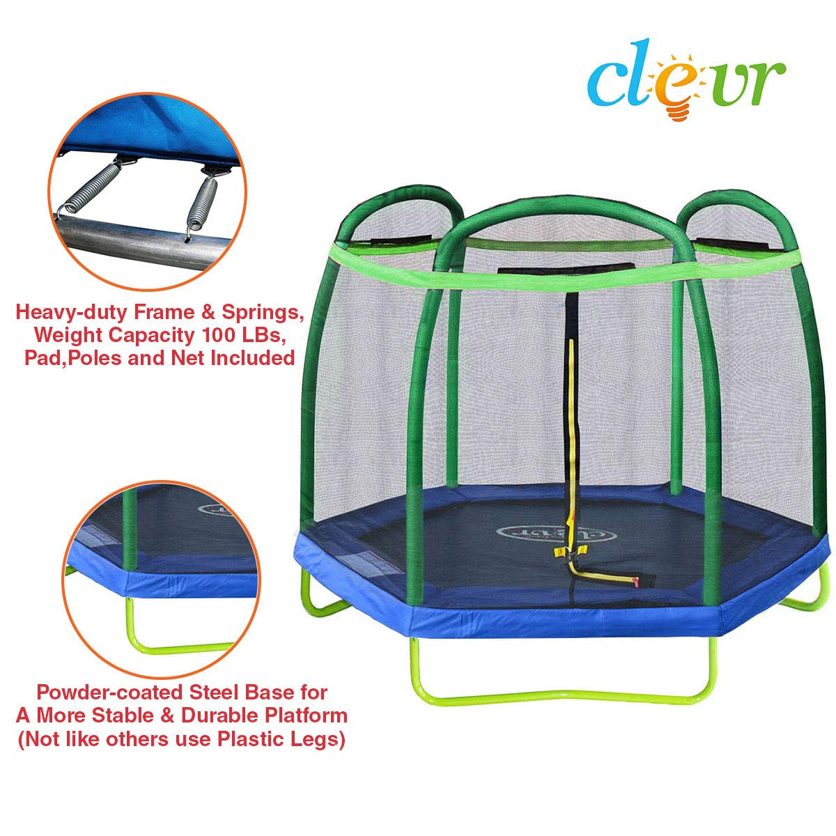 Clevr 7ft Kids Trampoline with Safety Enclosure Net & Spring Pad, 7-Foot Outdoor Round Bounce Jumper 84'' Indoor/Outdoor, Built-in Zipper Heavy Duty Frame, Green and Blue | Great Birthday Gift by Clevr (Image #2)