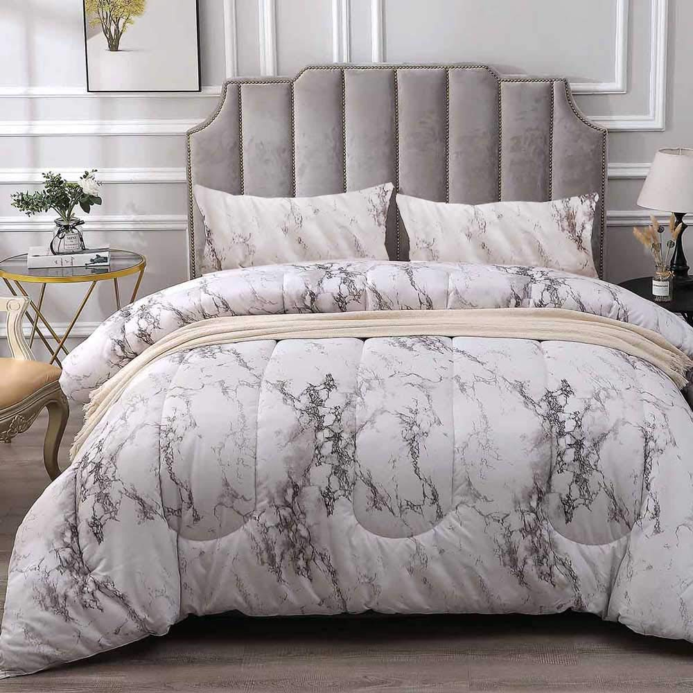 NANKO Comforter Set King Size, White Marble Print 104 x 90 inch Reversible Down Alternative Comforter Microfiber Duvet Sets (1 Comforter + 2 Pillow) Best Modern Bedding for Women Men,Gray Grey by NANKO