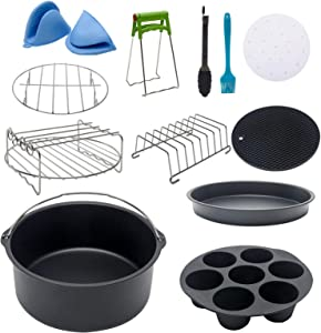 Air Fryer Accessories, 12pcs 8/9 Inch Non Stick Barrel Pan Air Fryer Accessories Set, Food Tongs Grill Kitchen Tools Fit for All Standard Air Fryer (8 inch)
