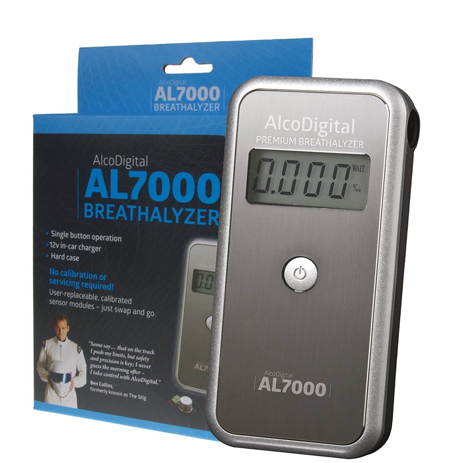 AlcoDigital AL7000 Breathalyzer with replaceable Sensor as recommended by Ben Collins, formerly 'The Stig' formerly ' The Stig'