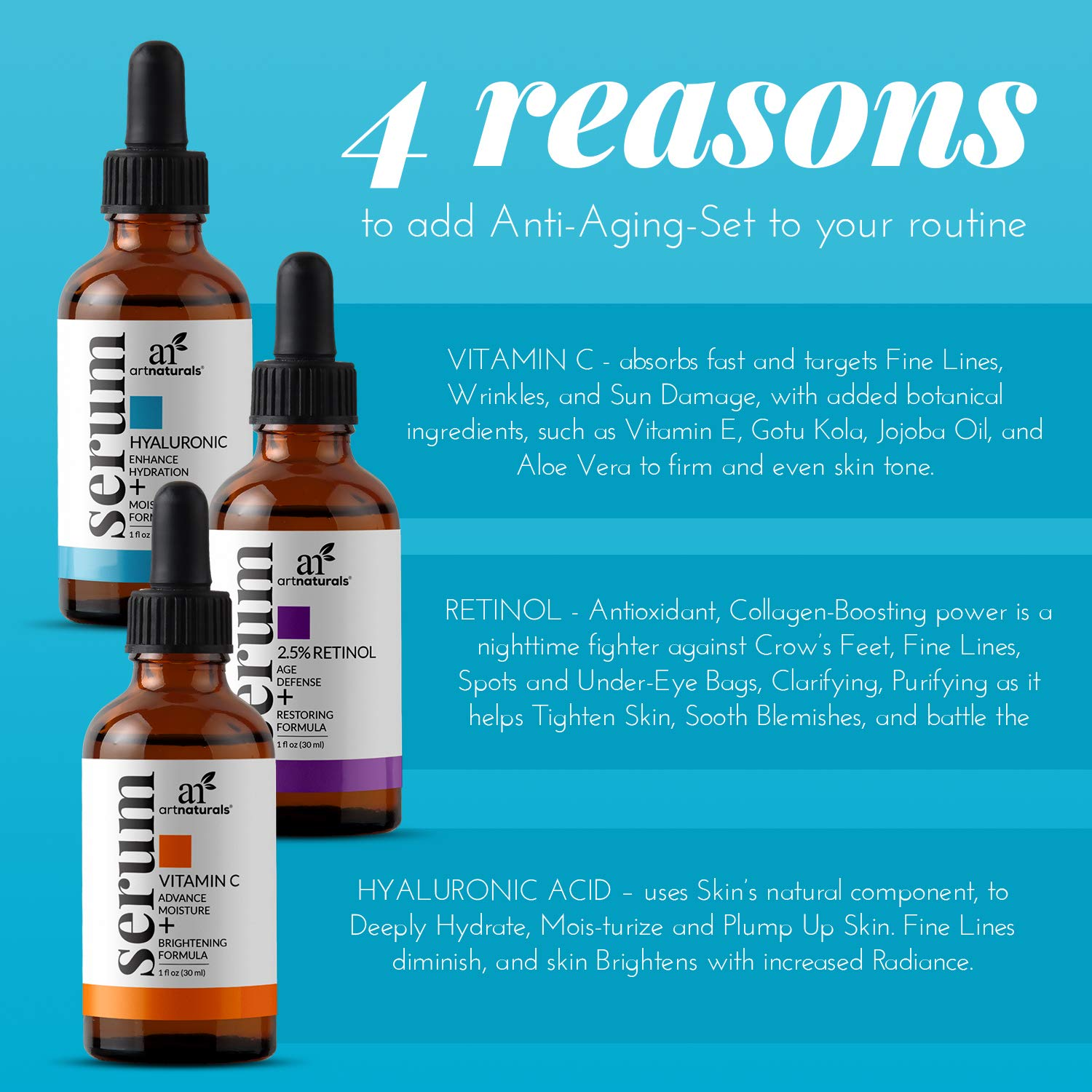 ArtNaturals Anti-Aging-Set with Vitamin-C Retinol and Hyaluronic-Acid - (3 x 1 Fl Oz / 30ml) Serum for Anti Wrinkle and Dark Circle Remover – All Natural and Moisturizing: Beauty