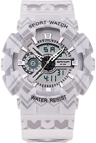 Sanda Digital analógico reloj deportivo Hombres LED Big Face Military cronómetro alarma niños blanco: Amazon.es: Relojes