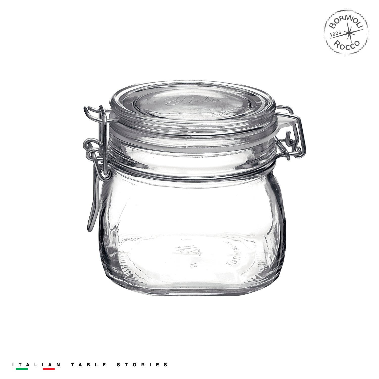 Bormioli Rocco Fido 17.5 Ounce Glass Storage Jars: Airtight Hinged Lid With Leak Proof Gasket, Wide Mouth Food Container - For Zero Waste Air Tight Preserving Jam, Spices, Coffee, Sugar & Herbs Bormioli Rocco Glass Co. Inc. 149210M04321991