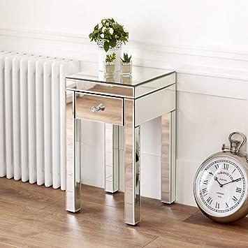 Elegant Venetian Mirrored Small 1 Drawer Lamp Table