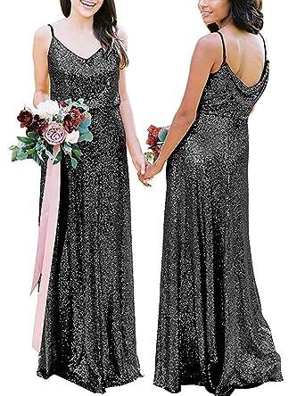 f136dfc3 Women's Sequin Bridesmaid Dresses Long Straps Mermaid Evening Gowns Black  US2
