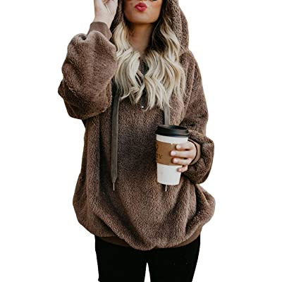 Actloe Women Hoodie Fuzzy Pullover Sweatshirt Casual Outwear with Pockets: Clothing