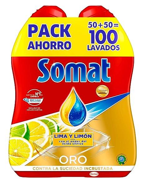 Somat Oro Gel Lavavajillas Limón 2x50 Dosis