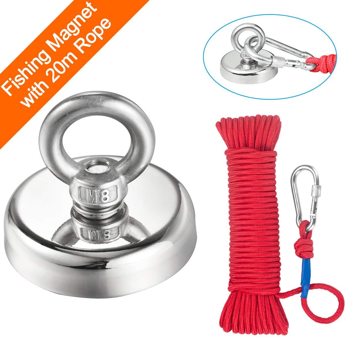Wukong Magnetseil Durchmesser 6 mm//8 mm 20 m schweres Seil mit Sicherheitsverschluss sicher und langlebig
