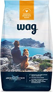 Amazon Brand – Wag Dry Dog Food, Chicken and Brown Rice 5 lb Bag