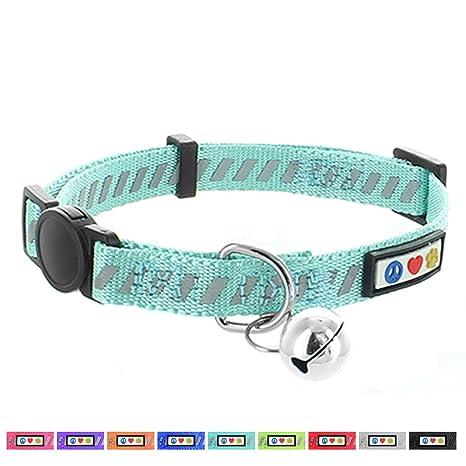 Pawtitas Collar de Gato trafico Reflectante con Hebilla de Seguridad y Cuello de Gato con Campana