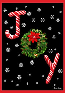 Toland Home Garden Joy 12.5 x 18 Inch Decorative Candy Cane Christmas Holiday Snowflake Double Sided Garden Flag