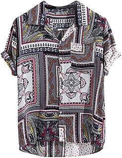 MINIKIMI Hawaihemd Herren Kurzarm Beach Party Button Down Vintage Print Blumen Hemd Funky Sommerhemd Freizeit Kurzarm Bluse