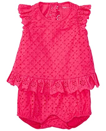 9be764e2221b Amazon.com  Ralph Lauren Baby Girls Eyelet Flyaway-Back Shortall Romper   Clothing