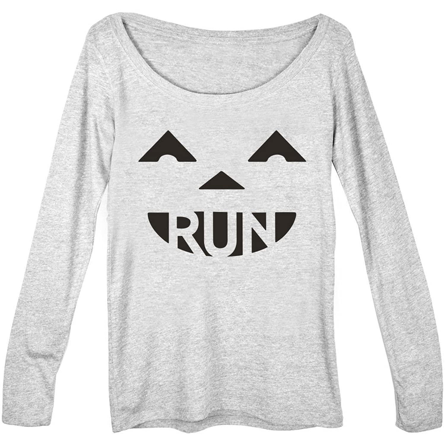 Gone For a Run Women's Runner Scoop Neck Long Sleeve Tee Pumpkin Run