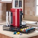 Flagship Coffee Pod Holder Stand Revolving Capsules Storage Rack for Nespresso Vertuoline (40 Pods Iron Drawer)