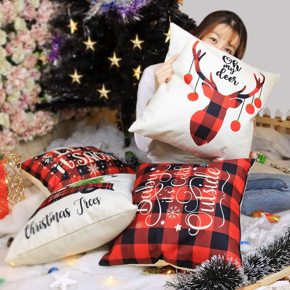 YEVIOR Klassisch Buffalo Plaid Kissenbezuge Weihnachten Dekorative Dekokissen Kissenhülle 4er Set, Christmas Motiv Schneeflocke Rentier Muster 45x45cm,Zierkissenbezüge für Sofa Zuhause Dekor,Leinen