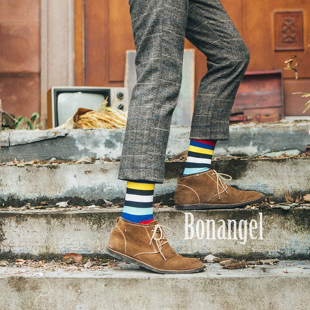 Bonangel Men\'s Fun Dress Socks - Colorful Funny Novelty Crazy Crew Socks Pack