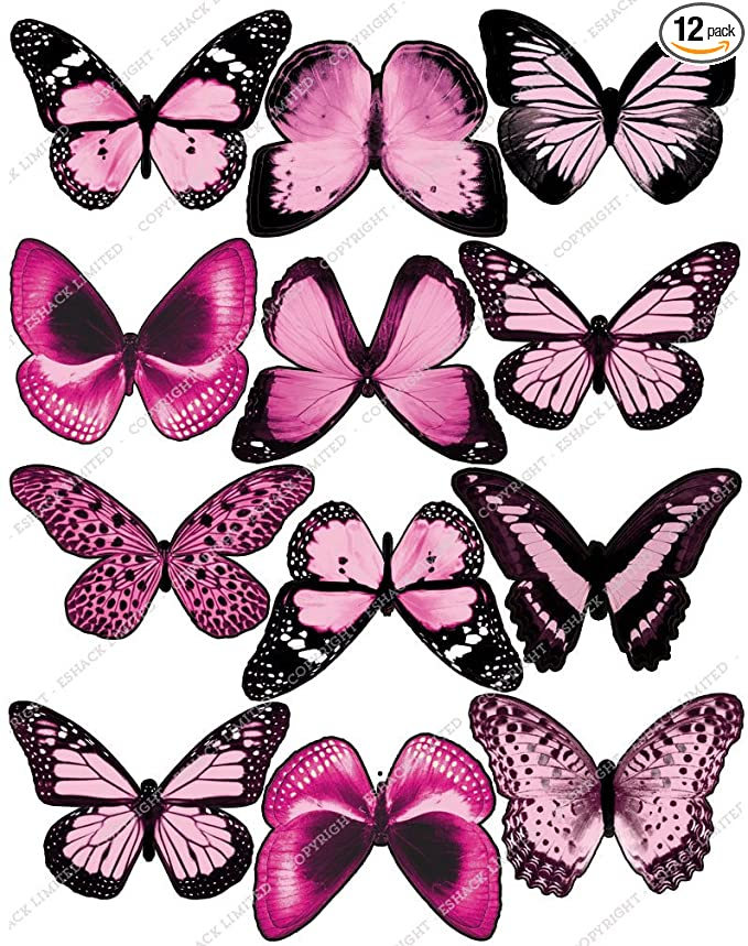 32 Edible Pink Polka Butterfly Wafer Cupcake Toppers Precut