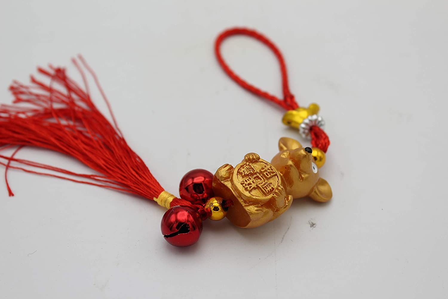 LuckyGifts Chinese Feng Shui Protection Zodiac Year of Rat Wealth Inviting Rat Gold Ingot Bell Tassel Hanging Charm