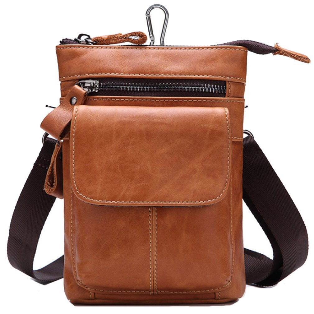 FANGDA Genuine Leather Brown Fanny Small Messenger Shoulder Satchel Waist Bag Pack for Men
