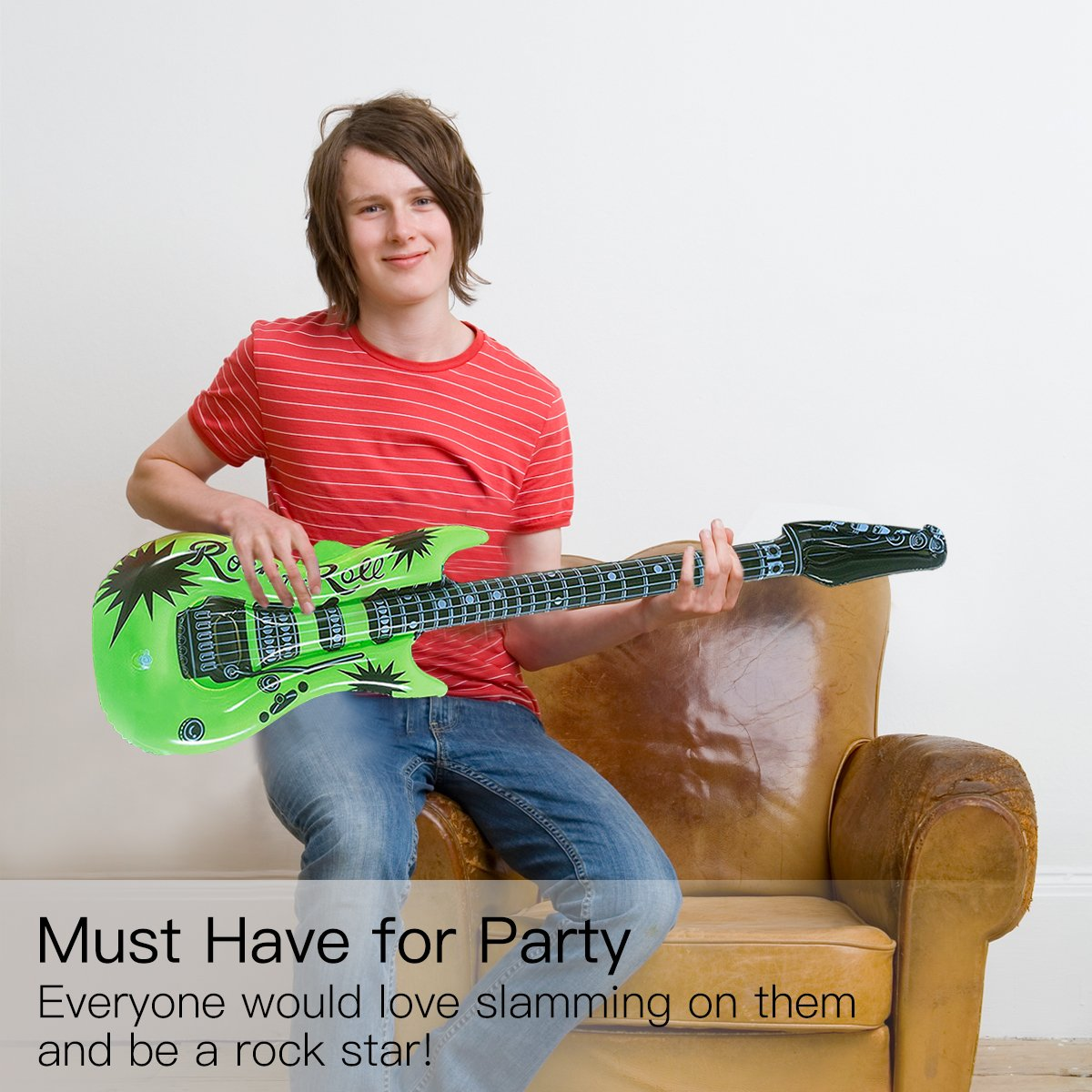 Novelty Place Inflatable Guitar Set for Kids & Adults, 35 Inches (Pack of 12) by Novelty Place (Image #5)