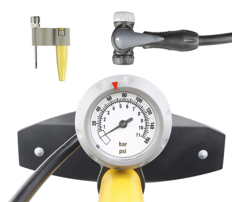 CyclingDeal High Pressure Bicycle Bike Floor Air Pump Gauge Rapid T-Valve 160 Psi Auto Reversible Presta and Schrader
