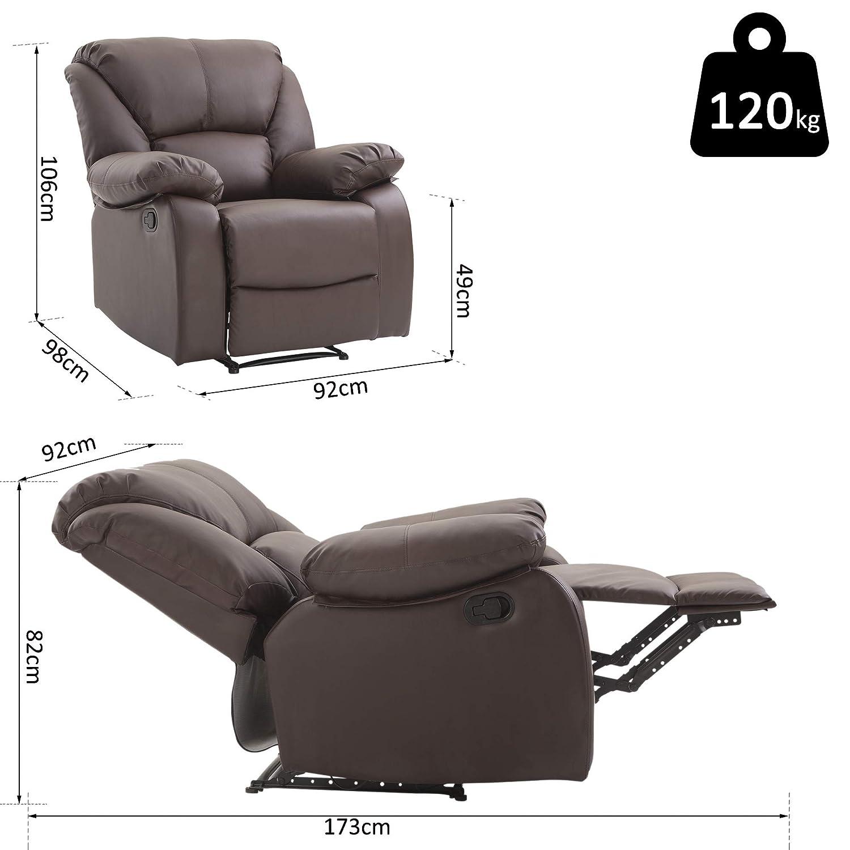 HOMCOM Relaxsessel Verstellbar Liegesessel Sessel Fernsehsessel Wohnzimmer mit Liegefunktion Liegefunktion Liegefunktion Braun eab2a7