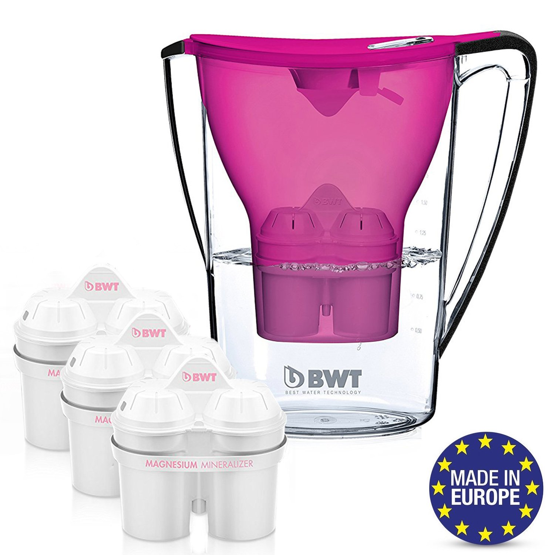 BWT Premium Water Filter Pitcher With 3 Bonus 60 Day Filters, Award Winning Austrian Quality, Technology For Superior Filtration & Taste (Aubergine)
