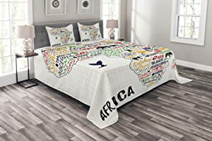 Ambesonne Saying Bedspread, Colorful Lettering of Countries in Continent with Animals Art Print, Decorative Quilted 3 Piece Coverlet Set with 2 Pillow Shams, Queen Size, White Orange