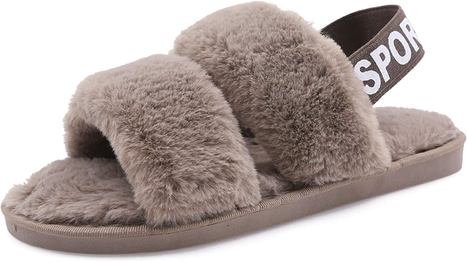 Women's House Fuzzy Slipper Fluffy Sandals Slides Leopard Print Soft Warm Comfy Cozy Bedroom Open Toe House Indoor Outdoor Slippers Sandals with Elastic Strap (Coffee, Numeric_6)