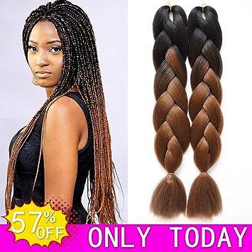 Amazon Com Hvaxing 24 Black To Brown Ombre Jumbo Braiding Hair