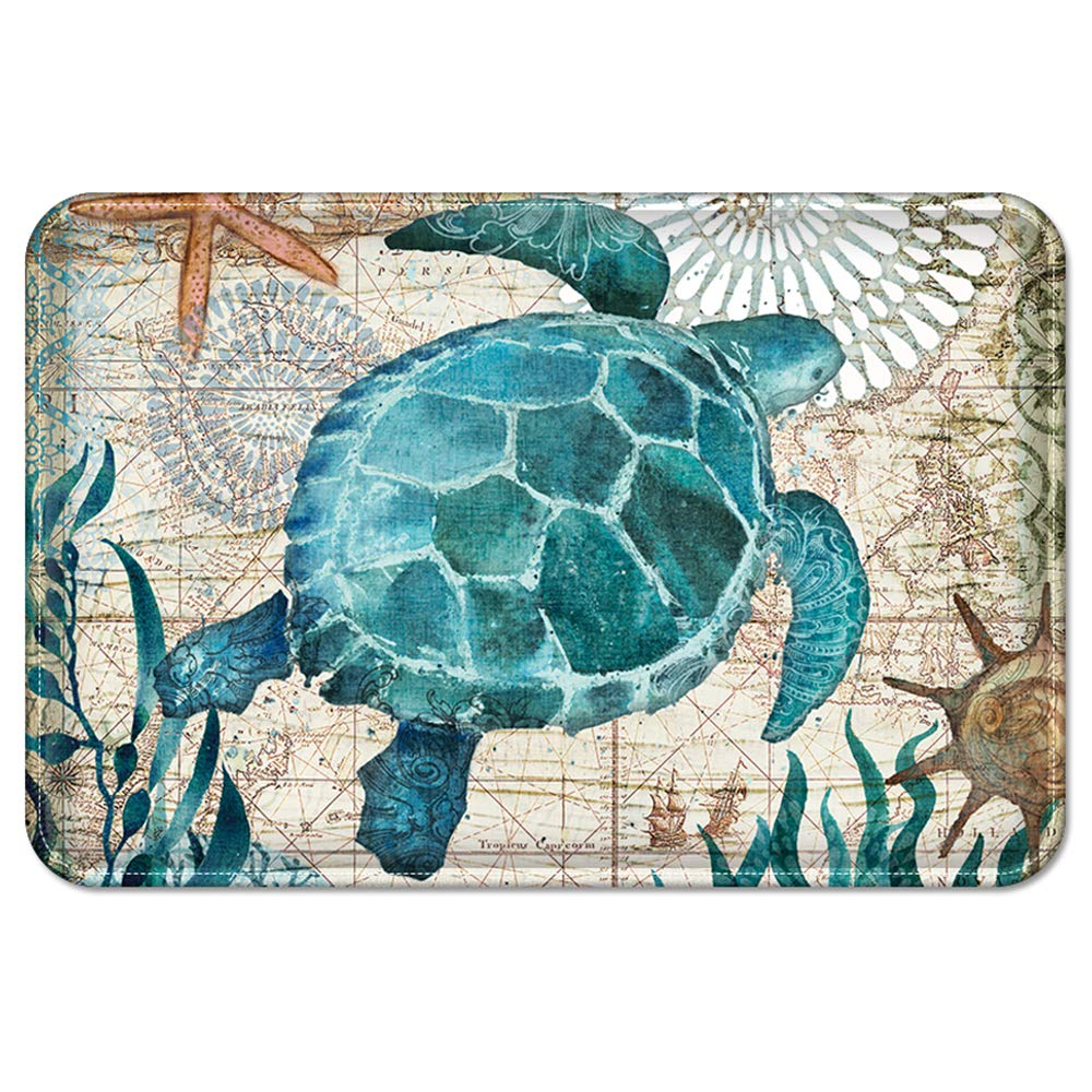 Uphome Sea Theme Memory Foam Bath Mat Blue Turtle Rubber Non Slip Bathroom Rugs Velvet Coastal Navigation Map Bath Rug for Shower Floors, Summer Ocean Life Bathroom Decorations, 20x32