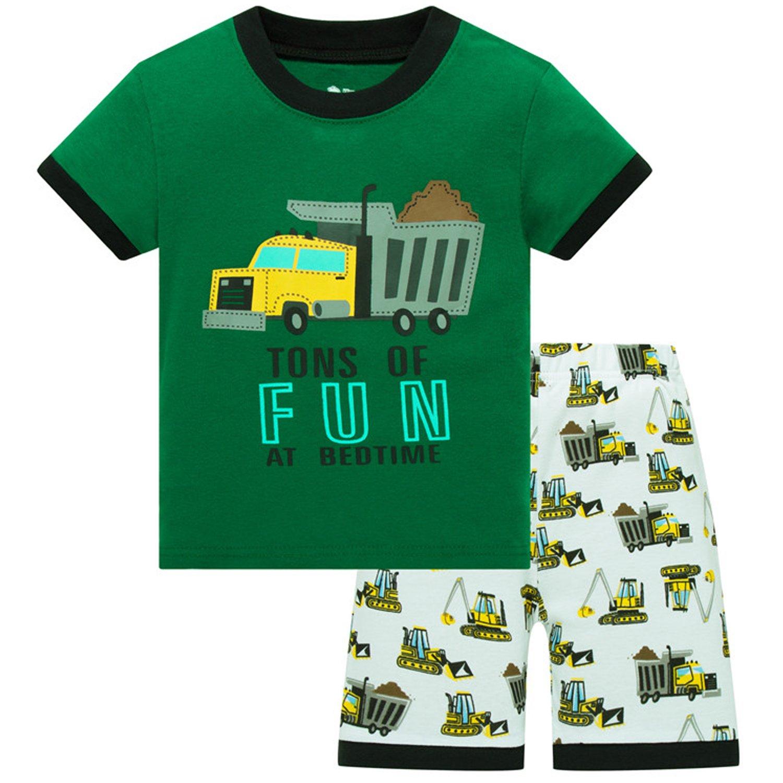 ZFBOZS Boys Pajamas PJs for Toddler 5t Cotton Shorts Children Vehicle Sleepwear 2-Piece Clothes