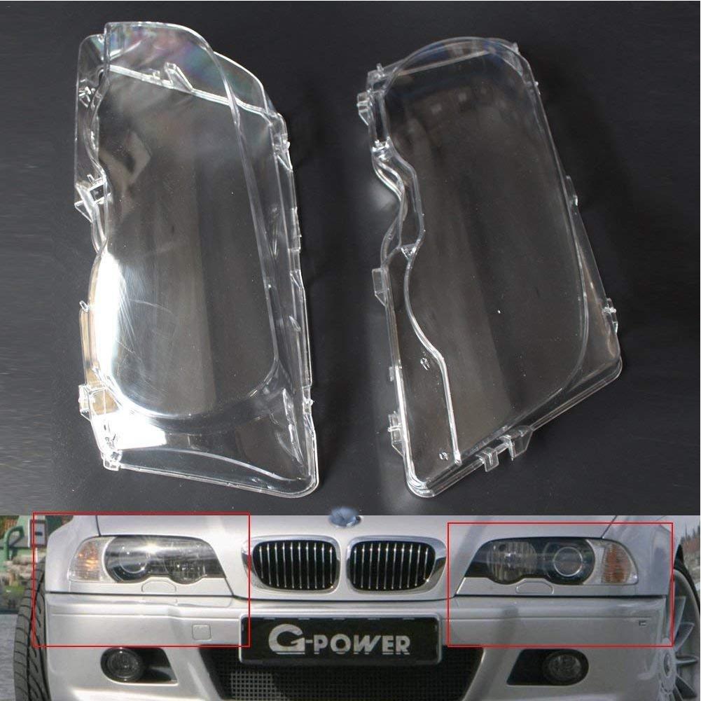 2 PCS Couverture De Phares De Voiture Led Ampoules Transparent Durable Polycarbonate Maté riau Pour BMW E46 2001-2006 Beatie