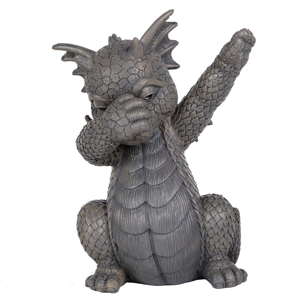 Pacific Giftware Garden Dragon Dabbing Dragon Garden Display Decorative Accent Sculpture Stone Finish 10 Inch Tall