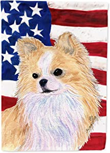 Caroline's Treasures SS4229GF USA American Flag with Chihuahua Flag Garden Size, Small, Multicolor
