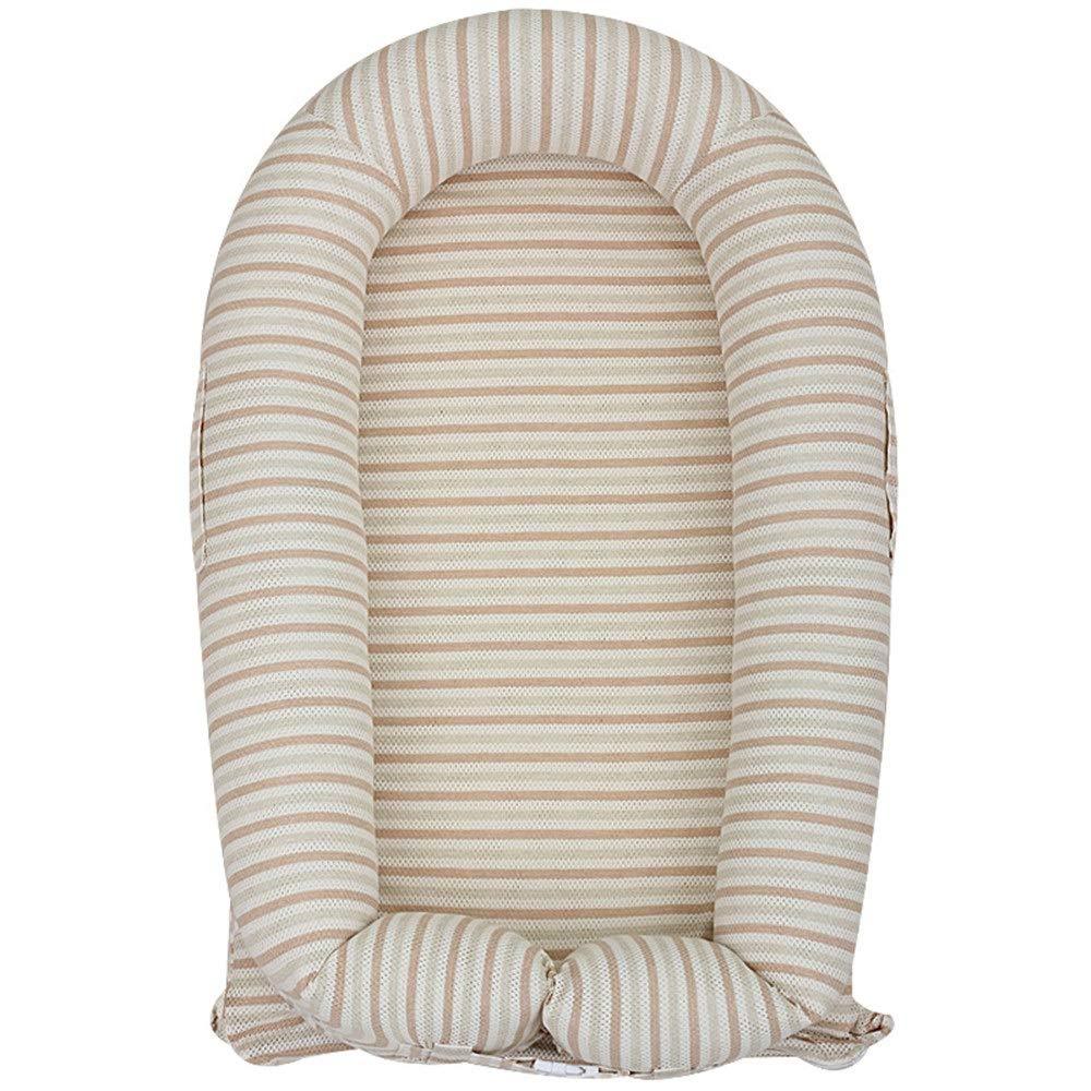ベビーベッド コンパクトベッド 赤ちゃんのベビーベッド用ベッドポータブルベビースーパーソフトで 新生児用ラウンジ用玩具スタンドと蚊帳100%コットンポータブルベビーベッド用ベッドルーム/トラベル (色 : Yellow stripes)  Yellow stripes B07VGF3R8N
