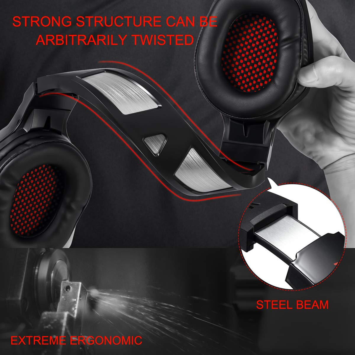 Auriculares Gaming, LATEC Cascos Gaming Microfono para PS4 Xbox One S , PC, Computadora Portátil Sonido Envolvente Estéreo Cancelación de ruido en los auriculares con memoria suave, luz LED