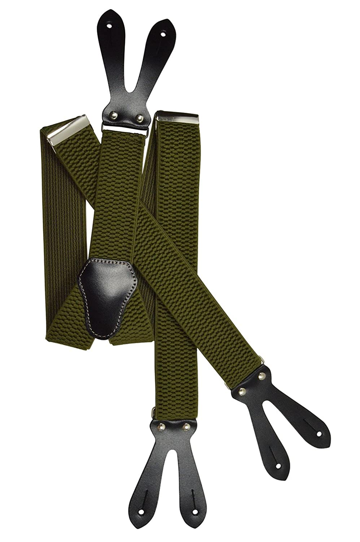 Unisex Bretelle regolabili con Vera Pelle Asole, 4cm larghezza 4cm larghezza - Arancione BRACES2F-oran