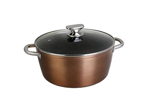 WeCook 10924 Cazuela de Cocina Inducción Profesional, Tapa de Cristal, Cacerola Antiadherente, Libre de BPA, 24 cm, Aluminio Forjado