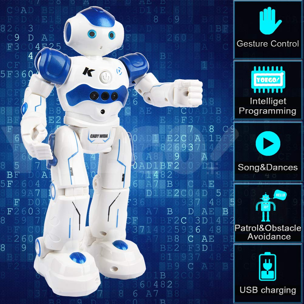 Yoego Remote Control Robot, Gesture Control Robot Toy for Kids, Smart Robot with Learning Music Programmable Walking Dancing Singing, Rechargeable Gesture Sensing Rc Robot Kit (Blue) by Yoego (Image #2)