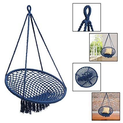 Bloomerang Outdoor Mesh Hanging Chair Cotton Swing Hammock Camping Garden Yard